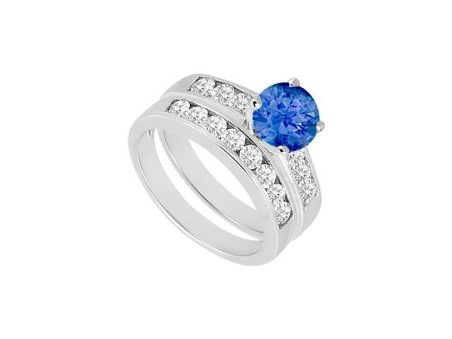 Sapphire  Diamond Engagement Ring with Wedding Band Sets 14K White Gold  1.50 CT TGW