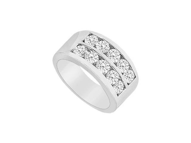 Cubic Zirconia Row Ring 10K White Gold 2.00 CT TGW