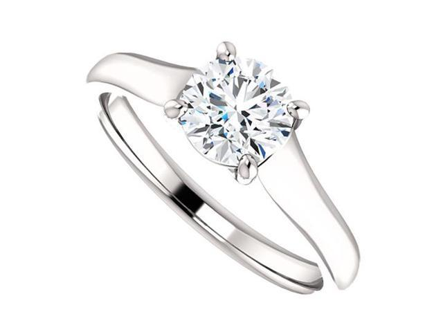 April Birthstone Cubic Zirconia Engagement Rings in 14K White Gold 1 CT TGW
