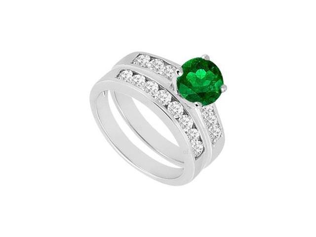 Emerald  Diamond Engagement Ring with Wedding Band Sets 14K White Gold  1.50 CT TGW