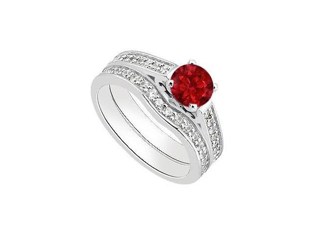 Ruby Engagement Ring with Diamond Wedding Bands in White Gold 14K 1.30 Carat Total Gem Weight