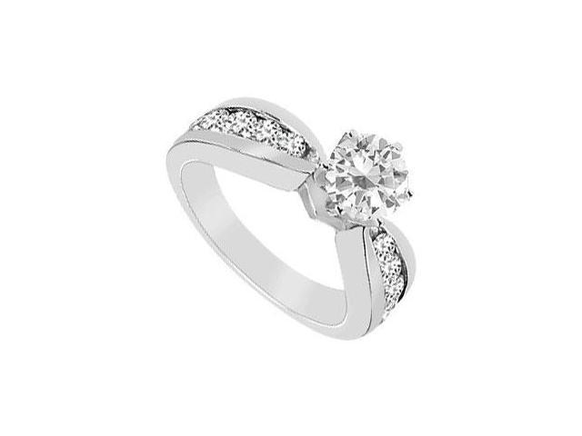 Cubic Zirconia Engagement Ring 10K White Gold 1.75 CT TGW