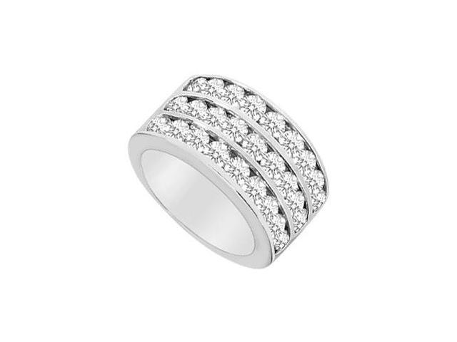 Cubic Zirconia Row Ring 10K White Gold 2.50 CT TGW