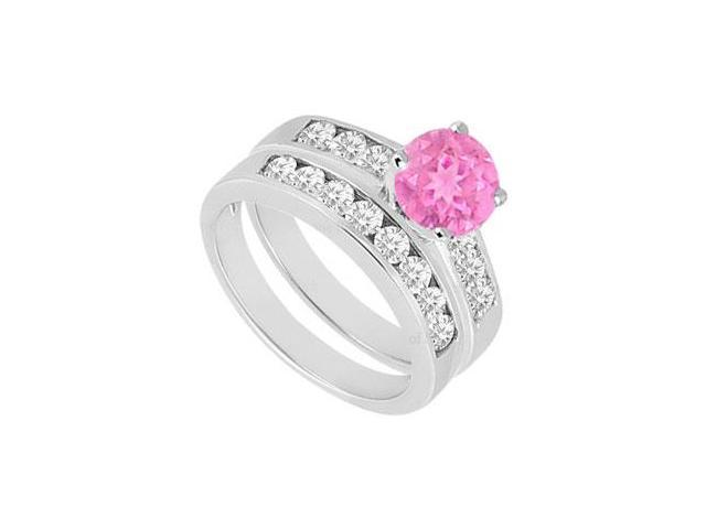 Pink Sapphire  Diamond Engagement Ring with Wedding Band Sets 14K White Gold  1.50 CT TGW