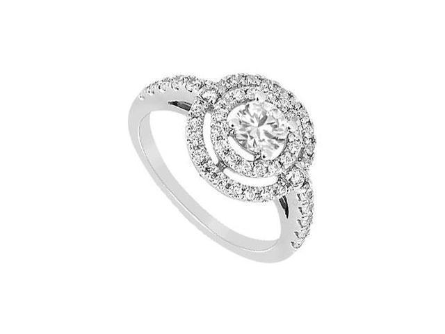 Cubic Zirconia Ring 10K White Gold 1.25 CT TGW