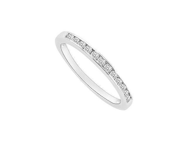 CZ Wedding Band in Rhodium Treated .925 Sterling Silver with 0.25 Carat TGW