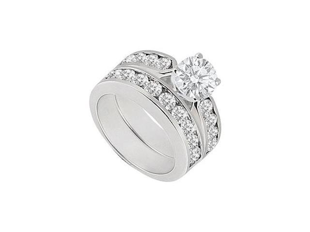 Diamond Engagement Ring with Wedding Band Sets 14K White Gold  1.00 CT TDW