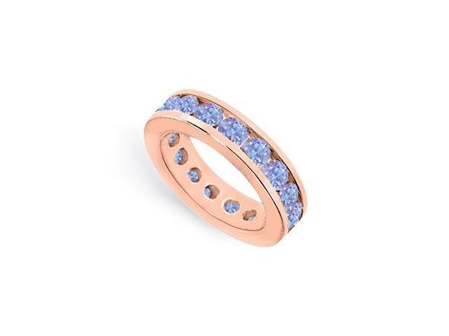 Created Tanzanite Eternity Ring Stackable Band 9 Carat Channel Set on 14K Rose Gold Vermeil