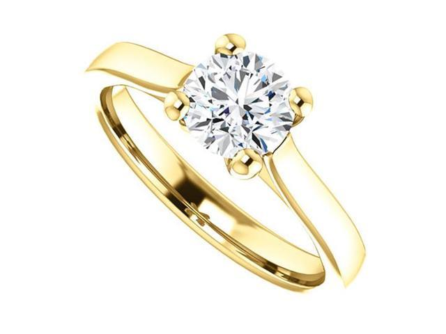 April Birthstone Cubic Zirconia Engagement Rings in 14K Yellow Gold 1 CT TGW