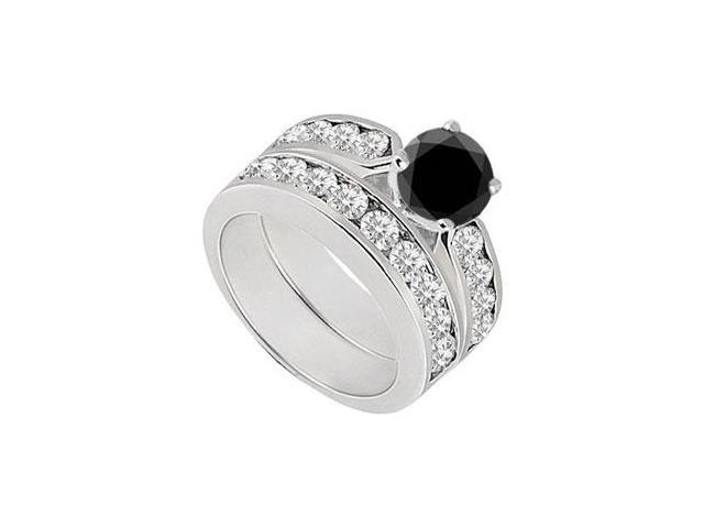 Black  White Diamond Engagement Ring with Wedding Band Sets 14K White Gold  1.00 CT TDW