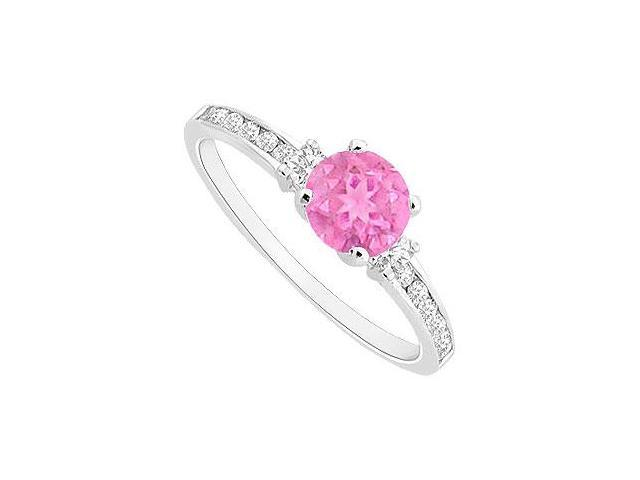 Pink Sapphire and Channel Set CZ Engagement Ring in Rhodium Treated Sterling Silver 0.75 CT TGW