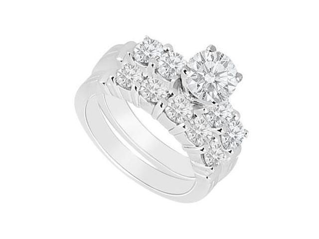 14K White Gold  Diamond Engagement Ring with Wedding Band Set 1.40 CT TDW