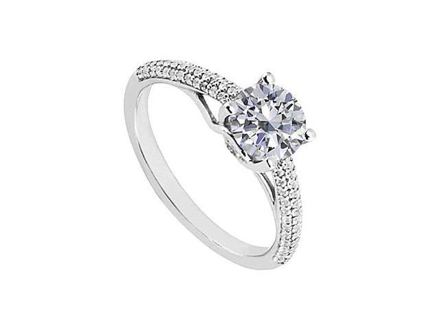 April Birthstone Solitaire Cubic Zirconia Engagement Rings in 14K White Gold 1.00 CT TGW