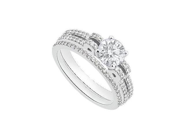 1 Carat Diamond Engagement Ring with Diamond Wedding Rings in 14K White Gold