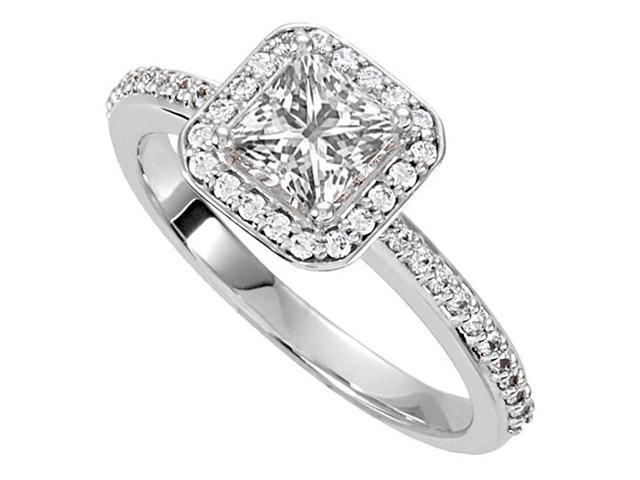 Halo Engagement Rings with CZ in 14K White Gold 0.75 CT TGW