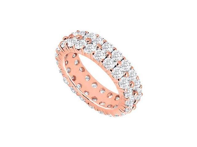 CZ Eternity Ring Stackable Band Two Row on 14K Rose Gold Vermeil 3ct tgw
