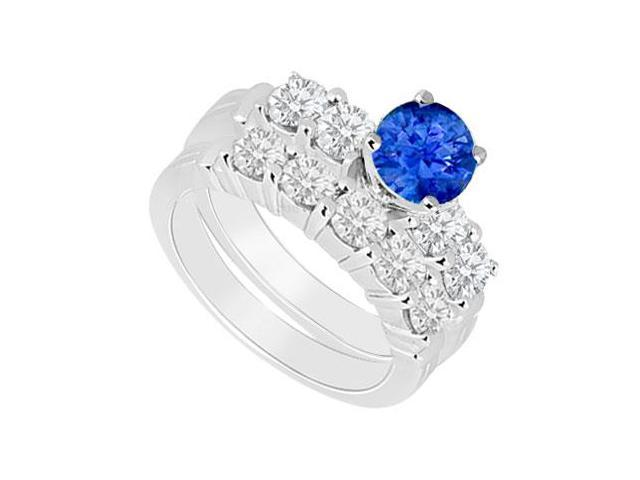 14K White Gold  Sapphire and Diamond Engagement Ring with Wedding Band Set 1.40 CT TGW