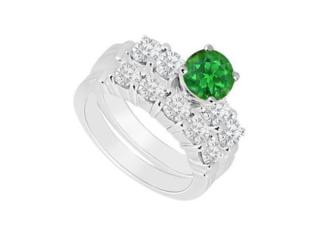14K White Gold  Emerald and Diamond Engagement Ring with Wedding Band Set 1.40 CT TGW