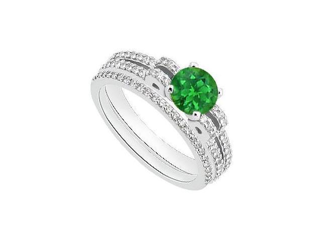 Diamond and Green Emerald Engagement Ring with Diamond Bands Set 1.25 Carat Total Gem Weight