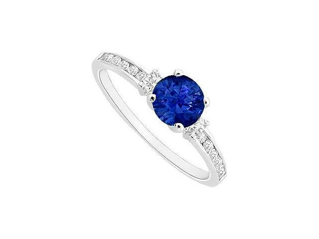 Channel Set CZ with Diffuse Sapphire Engagement Ring in Rhodium Treated Sterling Silver 0.75 CT