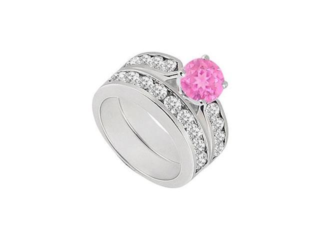 Pink Sapphire  Diamond Engagement Ring with Wedding Band Sets 14K White Gold  1.00 CT TGW