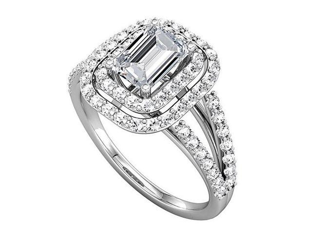 Split Shank Halo Engagement Rings with CZ in 14K White Gold 2.75 CT TGW