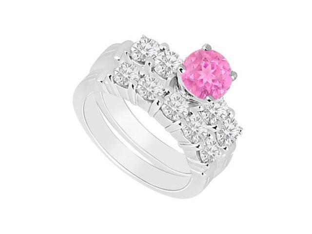 14K White Gold  Pink Sapphire and Diamond Engagement Ring with Wedding Band Set 1.40 CT TGW