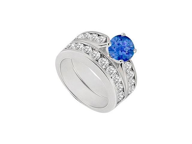 Sapphire  Diamond Engagement Ring with Wedding Band Sets 14K White Gold  1.00 CT TGW