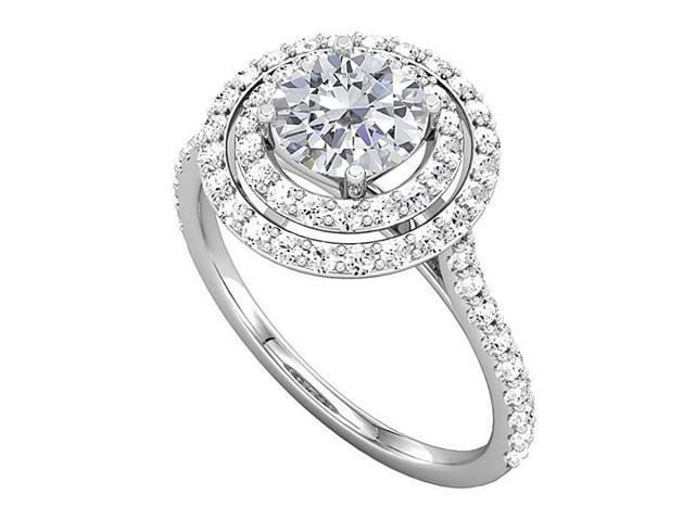 Halo Engagement Rings with CZ Double Halo in 14K White Gold 1.50 CT TGW