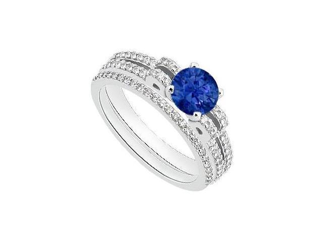 14K White Gold Blue Sapphire Engagement Ring with Diamond Wedding Rings 1.25 Carat TGW