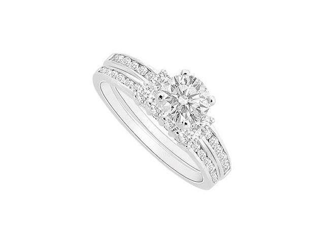 CZ Engagement Ring with Wedding Band Sets in Rhodium Treated .925 Sterling Silver 1.00 Carat TGW