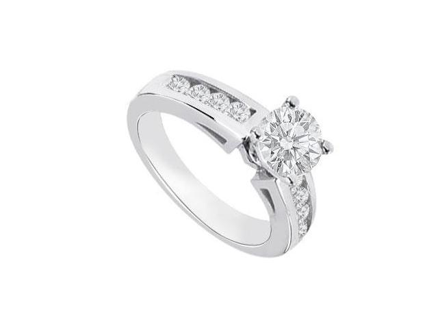 Engagement Ring in 14K White Gold CZ of 0.75 Carat Total Gem Weight