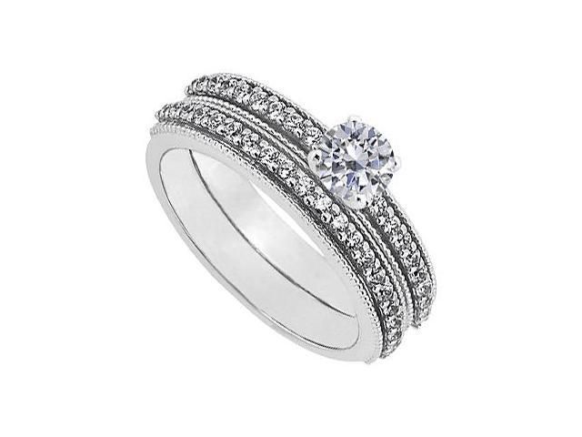 April Birthstone Diamond Engagement Ring with Wedding Band Set in 14K White Gold 1 CT TDW