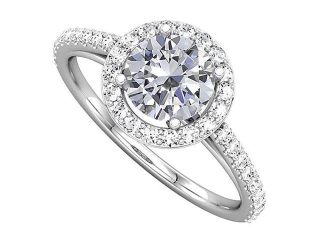 Halo Engagement Rings with CZ in 14K White Gold 1.50 CT TGW