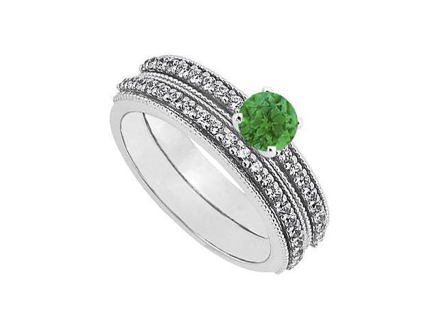 May Birthstone Emerald and Diamond Engagement Ring with Wedding Band Set 14K White Gold 1 CT TGW