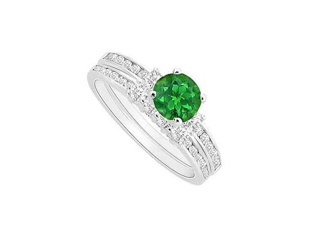 925 Sterling Silver Frosted Emerald Engagement Ring with CZ Wedding Band Sets 1.00 CT TGW