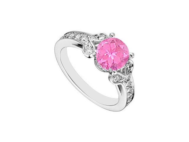 Sterling Silver Created Pink Sapphire and  Cubic Zirconia Engagement Ring 4.00 CT TGW