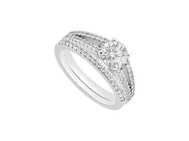 Diamond Engagement Ring with Wedding Band Sets in White Gold 14K 0.90 Carat Diamonds
