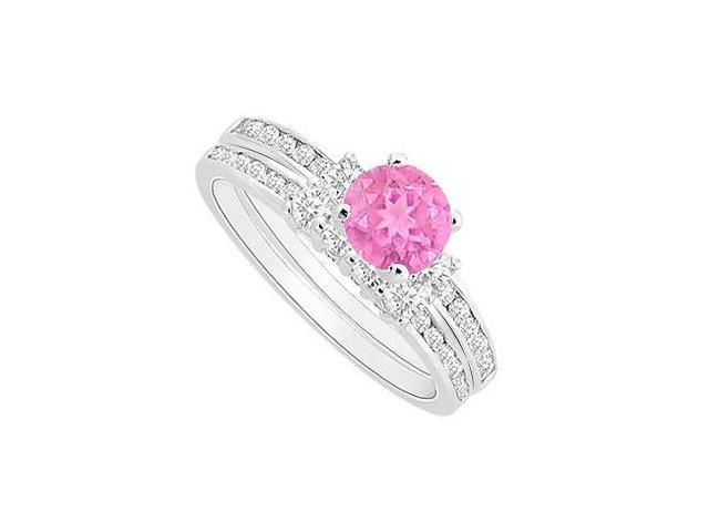 Pink Sapphire Engagement Ring with CZ Wedding Band Sets in .925 Sterling Silver 1.00  Carat TGW