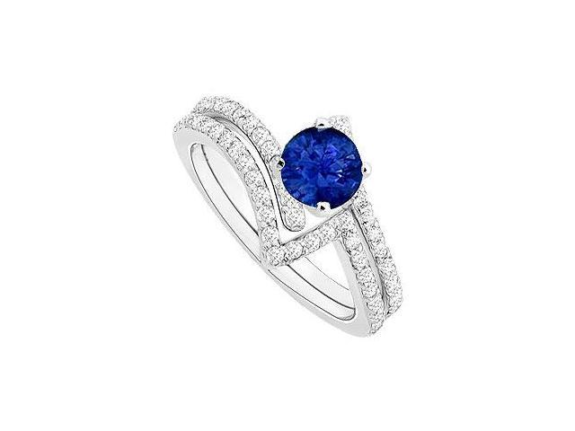 Sapphire and Diamond Engagement Ring with Wedding Band Set  14K White Gold - 1.00 CT TGW