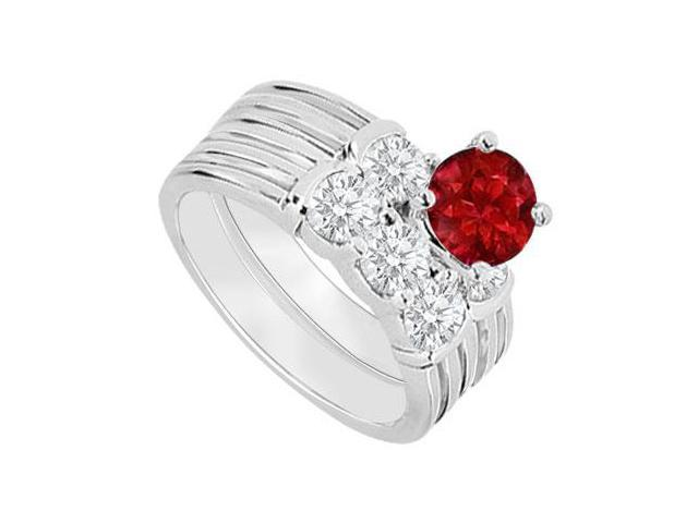 14K White Gold  Ruby and Diamond Engagement Ring with Wedding Band Set 1.10 CT TGW
