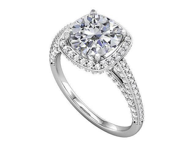 Split Shank Halo Engagement Rings with CZ in 14K White Gold 2 CT TGW
