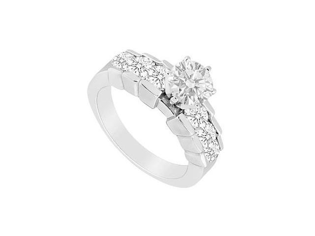 Polished 14K White Gold Engagement Ring with Cubic Zirconia 1 Carat Total Gem Weight