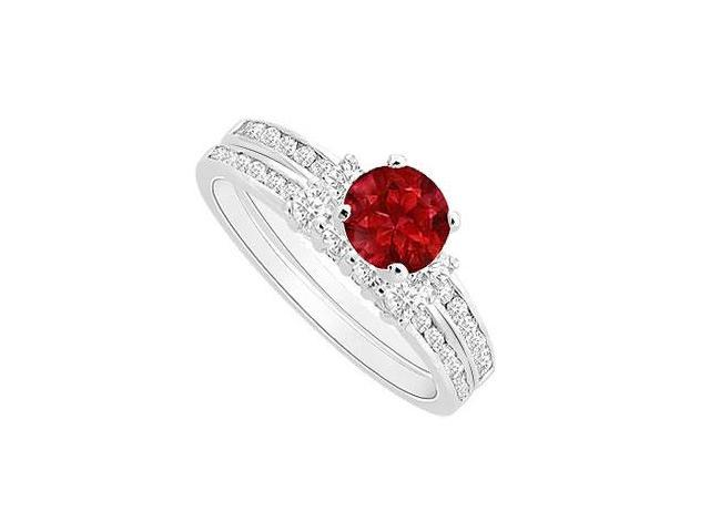 GF Bangkok Ruby Engagement Ring with CZ Wedding Band Sets in Rhodium Treated Sterling Silver 1.0