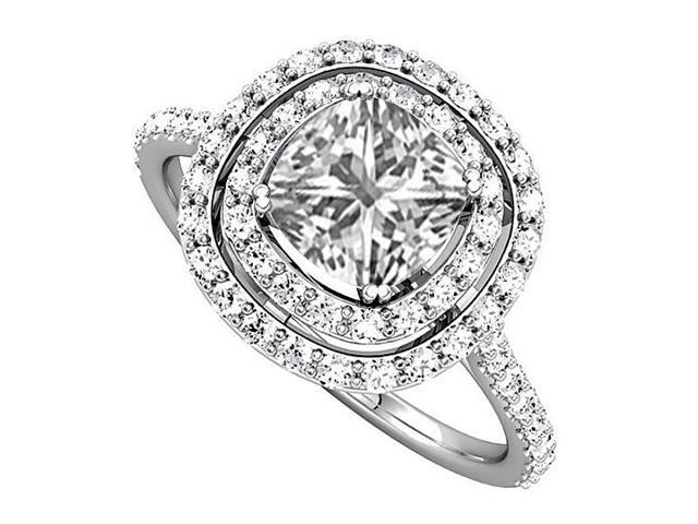 Halo Engagement Rings with CZ Double Halo in 14K White Gold 2.50 CT TGW