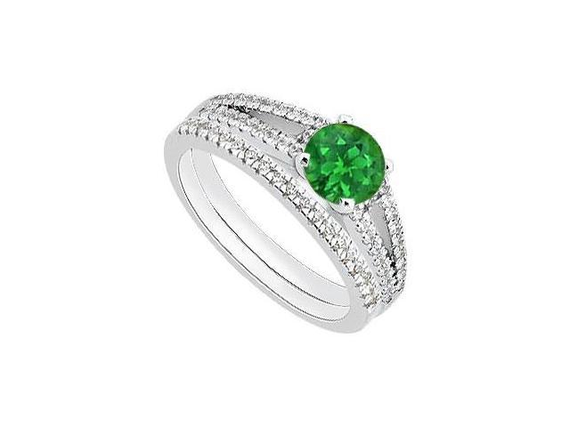 14K White Gold Green Emerald Engagement Ring with Diamond Bands 1.15 Carat Total Gem Weight