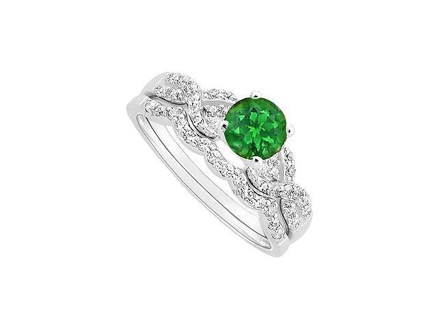 Emerald and Diamond Engagement Ring with Wedding Band Set  14K White Gold - 0.90 CT TGW