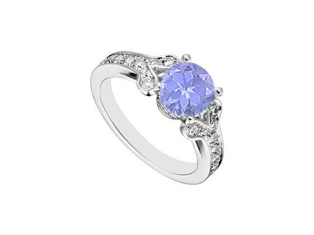 Sterling Silver Created Tanzanite and  Cubic Zirconia Engagement Ring 4.00 CT TGW