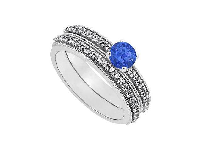 Sapphire  Diamond Engagement Ring with Wedding Band Set 14K White Gold 1 CT TGW