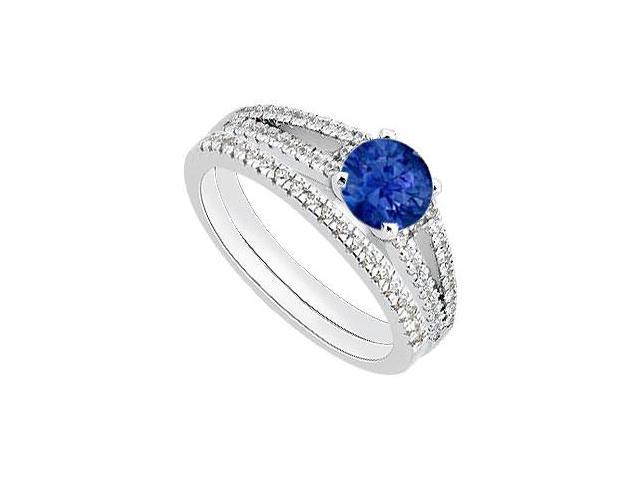 Blue Natural Sapphire and Diamond Engagement Ring Wedding Sets in 14K White Gold 1.15 Carat TGW